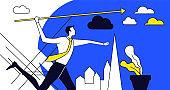 Successful businessman shouts the arrow. Mono colour icon