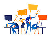 Business people working together in office, analysing data,  negotiating, solving the problems, supporting a project and making progress in business. Business concept illustration.
