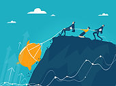 Group of business people, bankers pulling up golden piggy bank. Economy, savings, investment and profit growthGroup of business people pulling up puzzle piece on tot of mountain. Working together for the success concept illustration.  Concept illustration