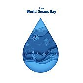 Paper cut drop form depth under water sea cave with fishes, coral reef, seabed in algae, waves. World Oceans Day 8 June. Diving concept, deep blue marine life. Vector sea wildlife.