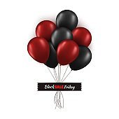 Black Friday promo concept. Bunch of black and red balloons with strings glued with black tape isolated on white background . Vector card illustration for your graphic design