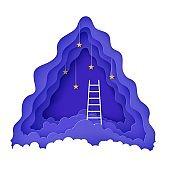 White stairs to climb above the clouds in the style of paper cut. Follow your dream vector motivational poster concept Papercut night landscape climbing stairs to the sky and trying to achieve success