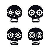 Sugar mexican skulls for Dia De Los Muertos holiday party. Traditional mexican Halloween design for Day of the dead. Ornament from Mexico.
