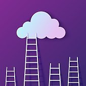 Ladder leading to cloud in paper cut style. Staircase of opportunities. Night purple sky with gradient cloud. Vector elements for motivational poster concept template of creative business success card