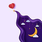Night sky and heart form hot air balloon in paper cut style. Cut out 3d background with violet and blue gradient cloudy landscape with star on rope and moon papercut art. Vector card illustration.