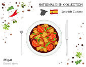 Spanish Cuisine. European national dish collection. Bread stew isolated on white, infographic
