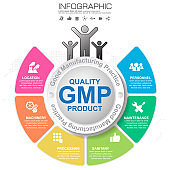 GMP-Good Manufacturing Practice, 6 heading of infographic template with sample text.