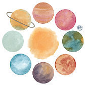 Watercolor composition with abstract planets of solar system and sun isolated on white background