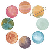 Watercolor round frame with abstract planets of solar system isolated on white background
