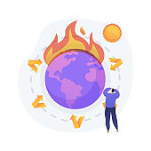 Greenhouse effect abstract concept vector illustration.
