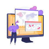 Global online survey analysis vector concept metaphor.
