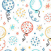 Festive Seamless Vector Pattern with Doodle Cute Balloons and Stars. Colorful Background for Kids with Cartoon Balloon, Star, Serpentine and Confetti Pieces. Holiday or Birthday Party Design