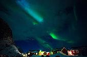 "arctic landscape and northern  lights. aurora borealis on lofoten islands, hamnoy. Norway""n"