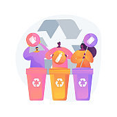 Garbage collection and sorting abstract concept vector illustration.