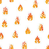 Bright Fire Flames Vector Seamless Pattern. Hand Drawn Doodle Fire Flame Silhouettes Background