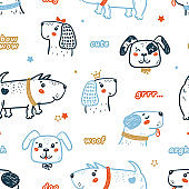 Childish Seamless Vector Pattern with Happy Cute Dogs and Words. Doodle Cartoon Funny Puppies Background for Kids. Wallpaper with Pet Animals for Baby Fashion, Nursery Design