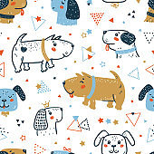 Childish Seamless Vector Pattern with Happy Cute Dogs, Triangles and Stars. Doodle Cartoon Funny Puppies Geometric Background for Kids. Abstract Wallpaper with Pet Animals for Baby Fashion