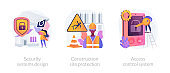 Construction security services abstract concept vector illustrations.