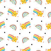 Comets and Rainbow. Cute Shooting Star Vector Seamless Pattern. Starry Sky Colorful Background of Kawaii Falling Stars. T-shirt Print, Nursery, Baby Shower, Holiday or Birthday Party Design for Kids