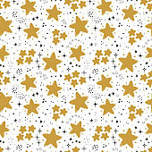 Doodle Cute Star Seamless Pattern. Starry Sky Background. Festive Stars Wallpaper. Vector Holiday and Birthday Party Design