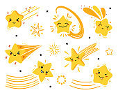 Doodle Shooting Cute Star Icons Vector Set. Yellow Little Falling Stars. Cartoon Comets Collection for Holiday or Birthday Party Design. Kawaii Characters for Kids