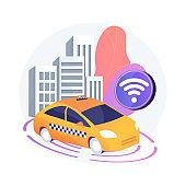 Autonomous taxi abstract concept vector illustration.