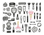 Makeup Set. Cosmetics Collection. Hand Drawn Doodle Cosmetic Face and Skin Care Products. Beauty and Fashion Items Vector illustration