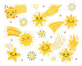 Vector Set of Little Cute Falling Stars. Doodle Different Shooting Star Icons. Cartoon Comets Collection for Holiday or Birthday Party Design. Kawaii Characters for Kids