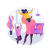 Single parent abstract concept vector illustration.