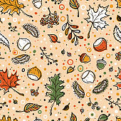 Autumn Harvest Symbols Vector Seamless Pattern. Hand Drawn Doodle Different Tree Leaves, Chestnuts, Rowan, Flowers and Berries