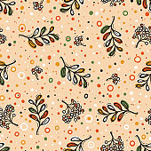 Autumn Vector Seamless Pattern with Mountain Ash and Rowanberry. Hand Drawn Doodle Rowan Tree Leaves and Berries. Colorful Background