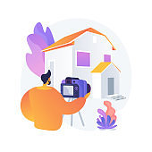 Real estate photography abstract concept vector illustration.