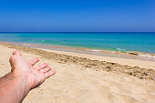 Hand of man inviting to paradise empty beach on sunny day