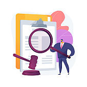 Legal research abstract concept vector illustration.