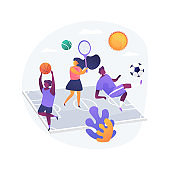Sport summer camp abstract concept vector illustration.