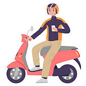 courier motorcycle taxi application to deliver package