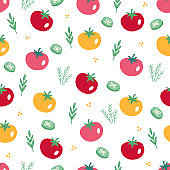 Seamless pattern with vegetables - tomato, dill, cucumber slices