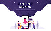 illustration of several women holding cellphones and credit cards shopping online, concept illustrations of online shopping and market places