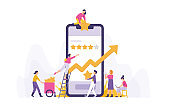 illustration of a group of people giving ratings or stars to an online application or service in the marketplace