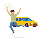 man feel happy excited jumping and holding his driving license card in front of his brand new car