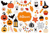 Halloween set - pumpkin, garland, ghost, bat, spider, web, leaves, candy