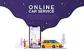illustration of a picture of several people ordering a car or taxi service online, the concept of online car service