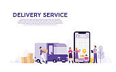 delivery service with online order tracking, people tracking their order in mobile delivery service