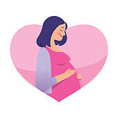 illustration of pregnant woman holding belly with love and affection