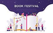 vector design concept of people celebrating book festival