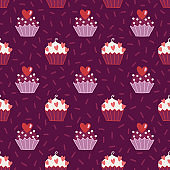 Valentine's Day seamless pattern with cupcakes and hearts