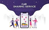 Modern city mobile transportation, car sharing service transportation concept vector illustration, young people order online transportation with phone app
