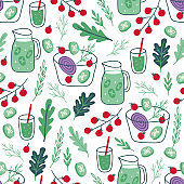Seamless pattern with salad, smoothie, cucumber lemonade, cherry tomatoes, onion