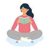 a young girl sitting and read a book, character vector illustration a woman sitting and holding a book