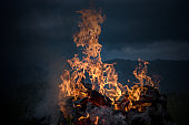 burning fire in the darkness